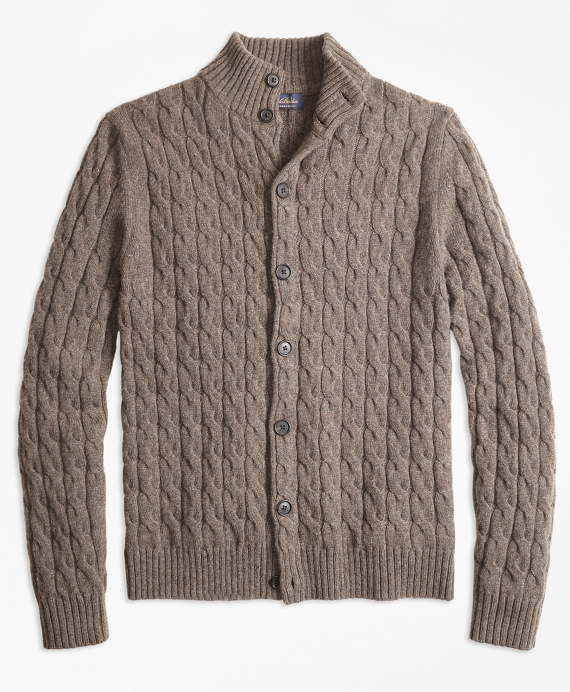 Merino Wool Cable Cardigan Brown