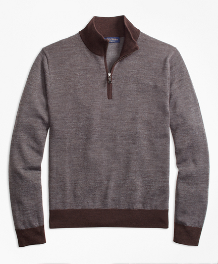 Merino Wool Bird's-Eye Half-Zip