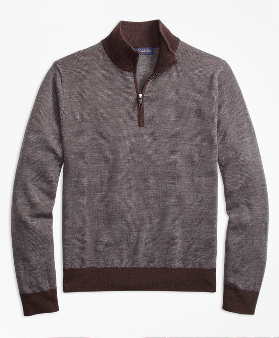 Merino Wool Bird's-Eye Half-Zip Brown