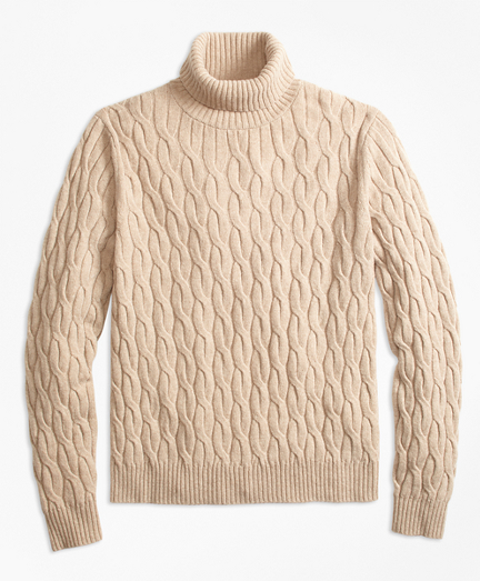 Merino Wool Cable Turtleneck Sweater