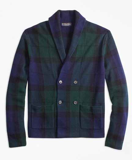Wool and Cashmere Black Watch Cardigan
