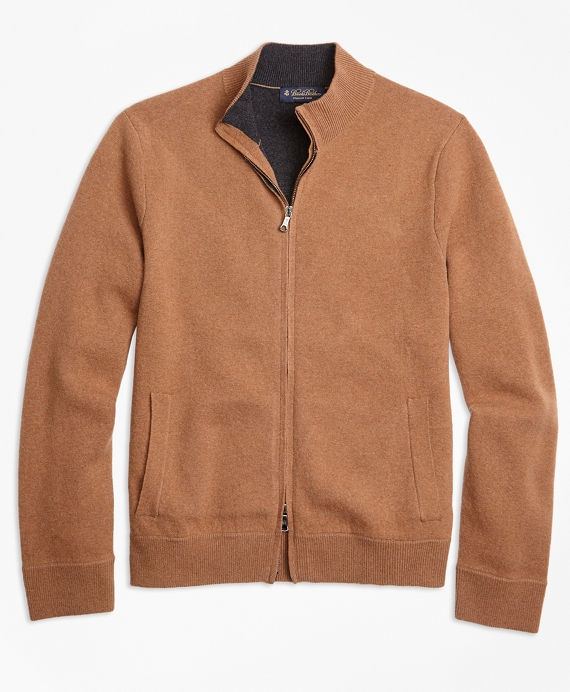 Wool and Cashmere Full-Zip Sweater Camel
