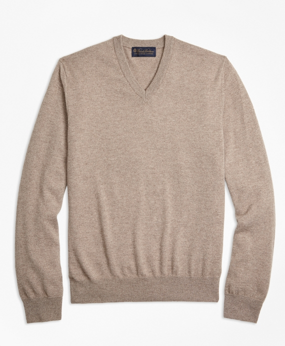 V-Neck Cashmere Sweater Dark Beige