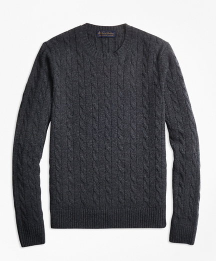 Two-Ply Cashmere Cable Crewneck Sweater