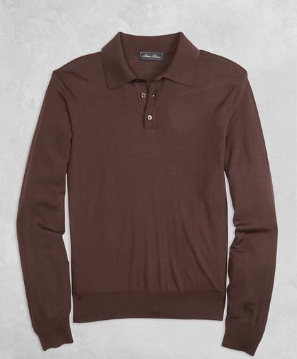 Golden Fleece® 3-D Knit Fine-Gauge Merino Long-Sleeve Polo