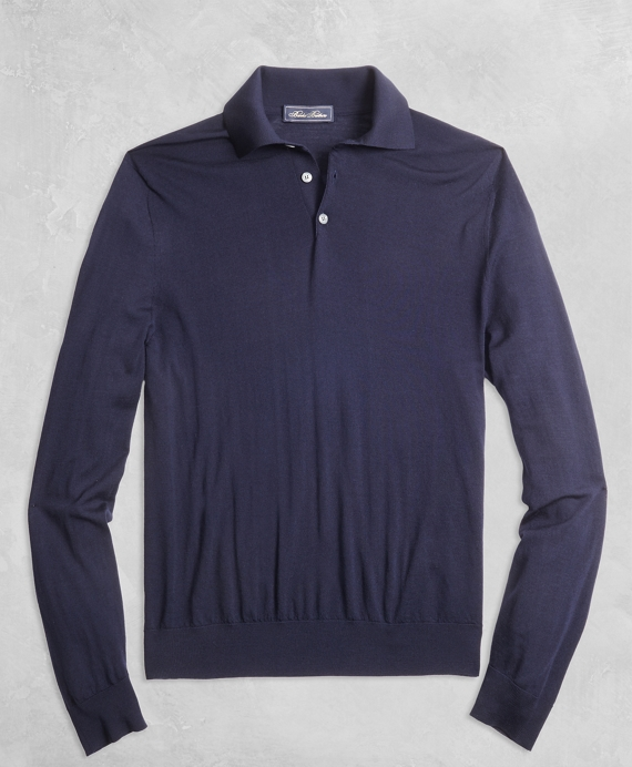 Golden Fleece® 3-D Knit Fine-Gauge Merino Long-Sleeve Polo Navy