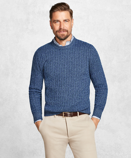 Golden Fleece® 3-D Knit Cashmere Cable-Stitch Crewneck