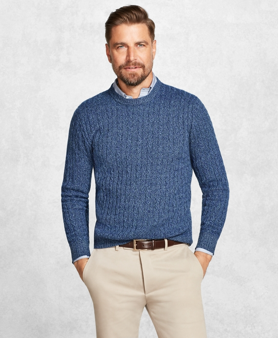 Golden Fleece® 3-D Knit Cashmere Cable-Stitch Crewneck Blue