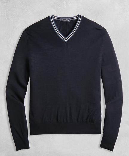 Golden Fleece® 3-D Knit Merino Fine-Gauge V-Neck Sweater