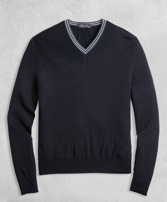 Golden Fleece® 3-D Knit Merino Fine-Gauge V-Neck Sweater