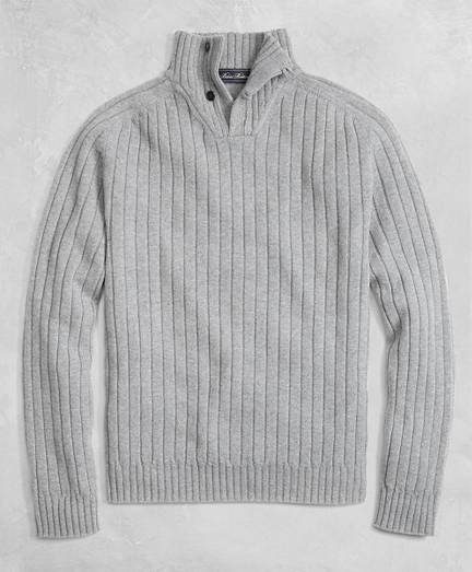 Golden Fleece® 3-D Knit Saxxon Reserve Button Mockneck Sweater