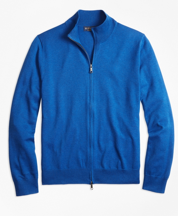 Supima® Cotton Full-Zip Cardigan Blue