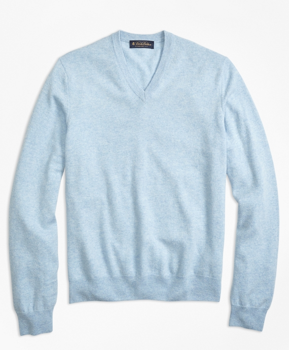 Silk and Cashmere V-Neck Sweater Light Blue