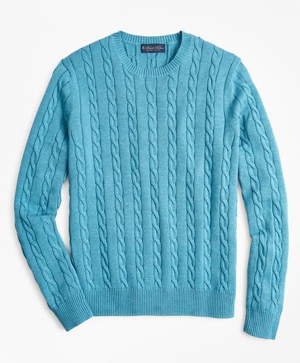 Supima® Cotton Cable Crewneck Sweater