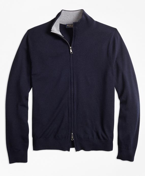 BrooksTech™ Merino Wool Full-Zip Cardigan Navy