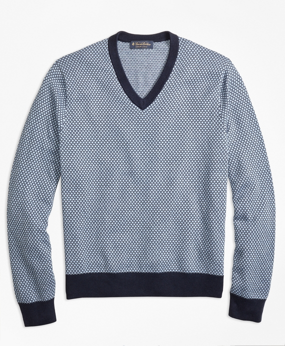 Supima® Cotton Jacquard Diamond V-Neck Sweater Blue