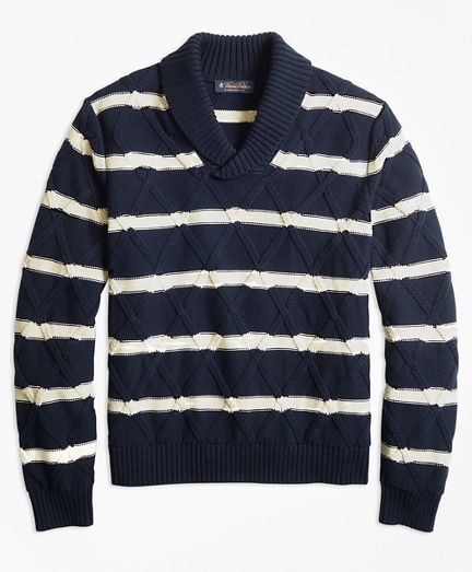 Nautical Stripe Shawl Collar Sweater