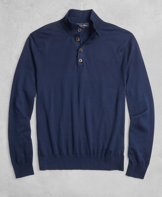 Golden Fleece® 3-D Knit Henley Navy