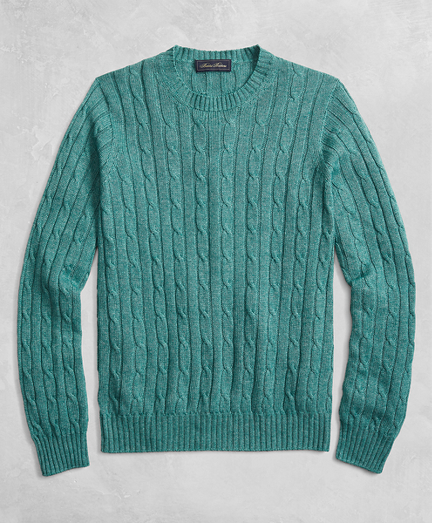 Golden Fleece® 3-D Knit Cable Crewneck Sweater