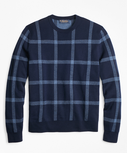 Merino Wool Windowpane Crewneck Sweater