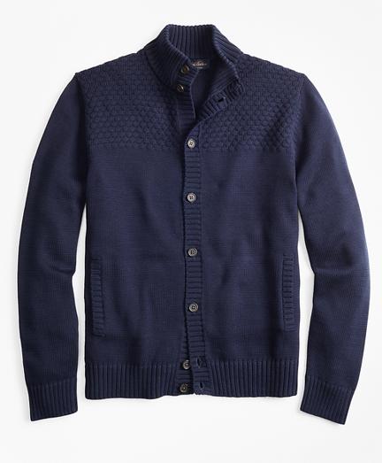 Textured Button-Front Mockneck Cardigan