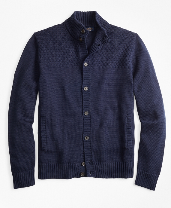 Textured Button-Front Mockneck Cardigan Navy