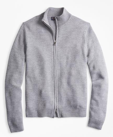 Honeycomb Stitch Full-Zip Cardigan