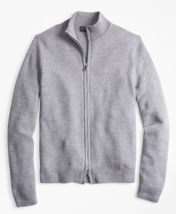 Honeycomb Stitch Full-Zip Cardigan Grey