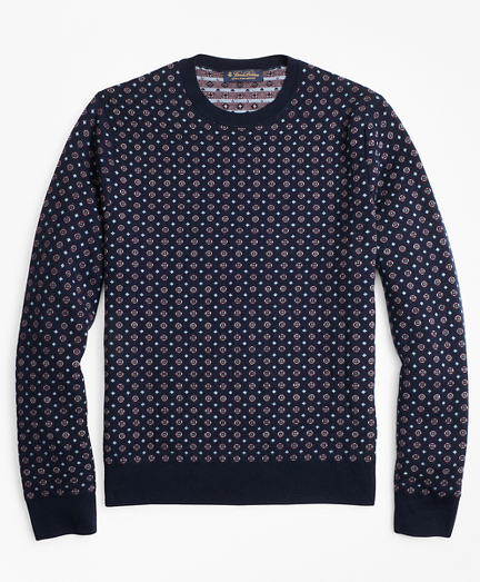 Merino Wool Foulard Jacquard Crewneck Sweater