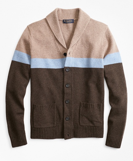 Merino Wool Color-Block Shawl Collar Cardigan