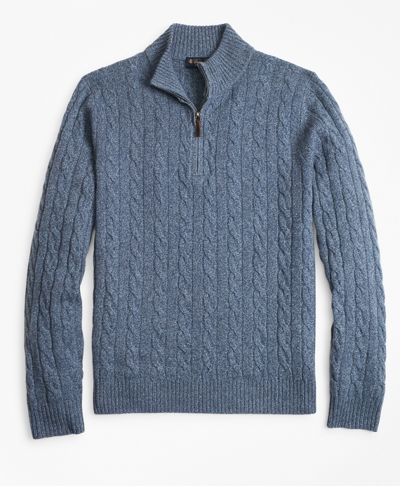 Marled Cable Half-Zip Blue