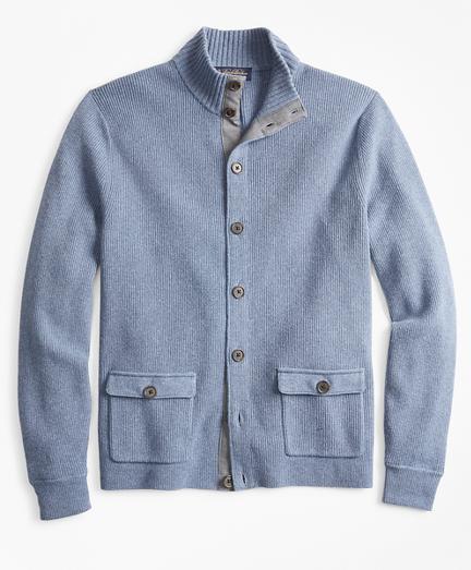 Mockneck Button-Front Cardigan