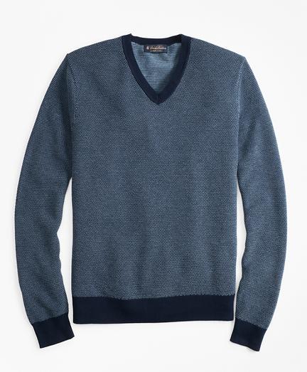 Supima® Cotton Pique Stitch V-Neck Sweater
