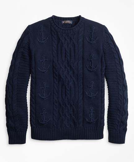Supima® Cotton Anchor Cable Rollneck Sweater