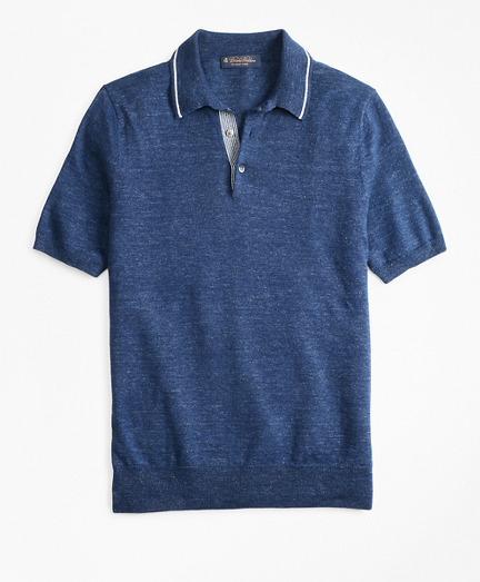 Linen and Cotton Polo Sweater