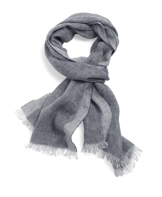 Chambray Linen Scarf Navy