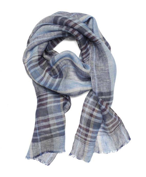 Stripe Linen Scarf Blue-Navy
