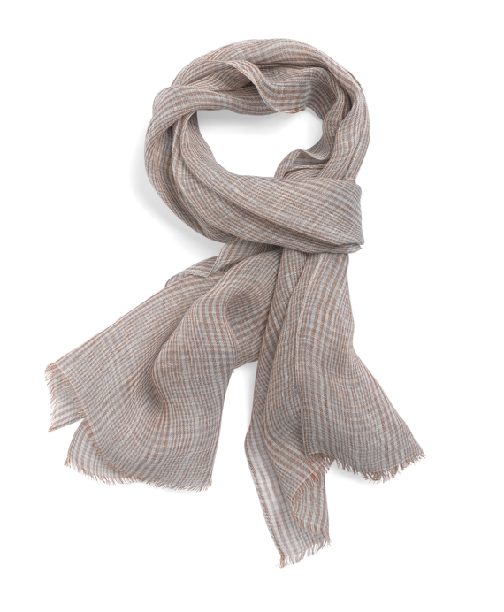 Linen Glen Plaid Scarf Brown