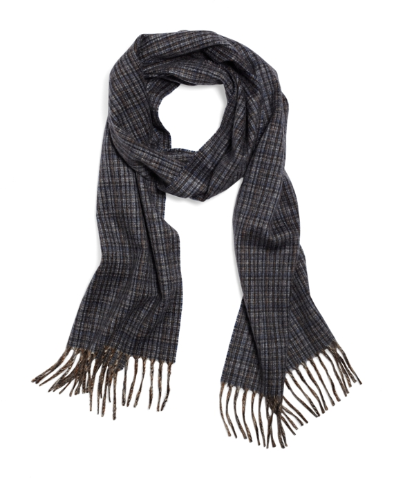 Cashmere Microplaid Scarf Blue Multi