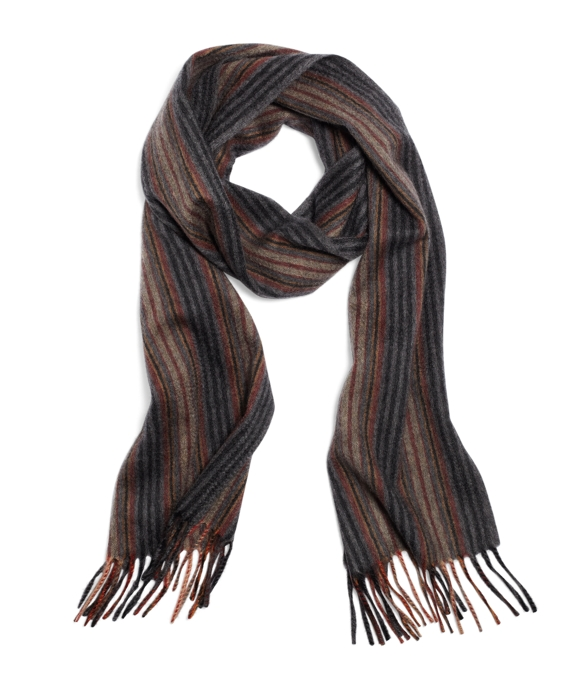 Cashmere Heather Stripe Scarf Grey Multi