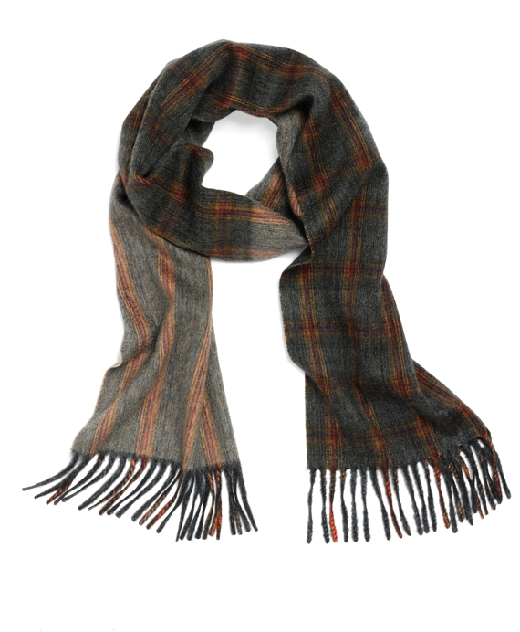 Cashmere Heather Plaid Scarf Grey Multi