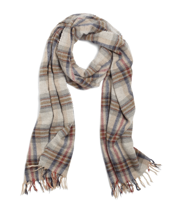Cashmere Washed Plaid Scarf Ivory Multi