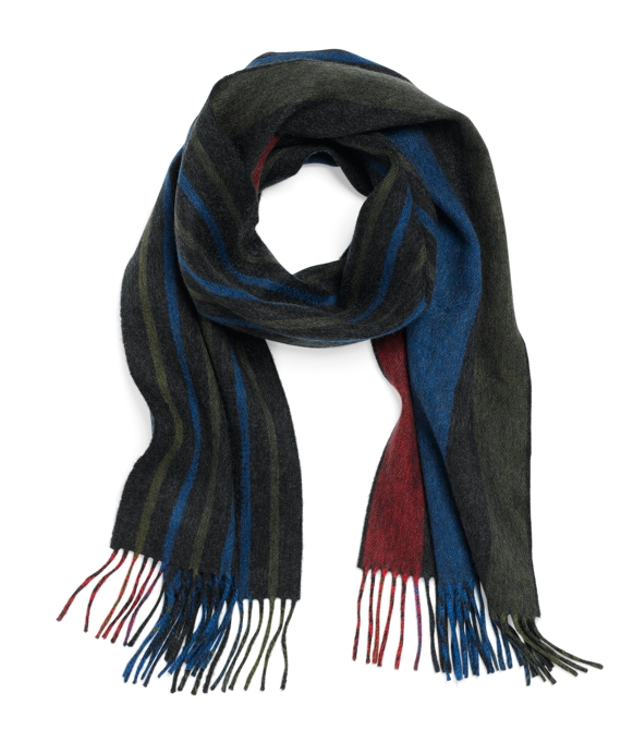 Cashmere Double-Faced Stripe Scarf Blue Multi
