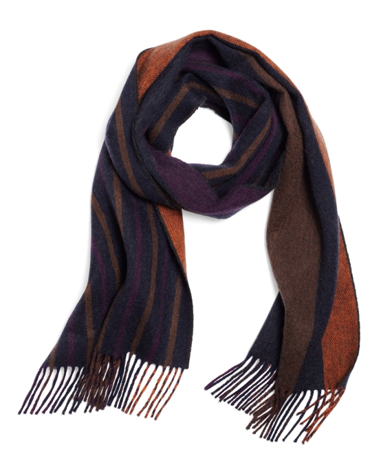 Cashmere Double-Faced Stripe Scarf Brown Multi