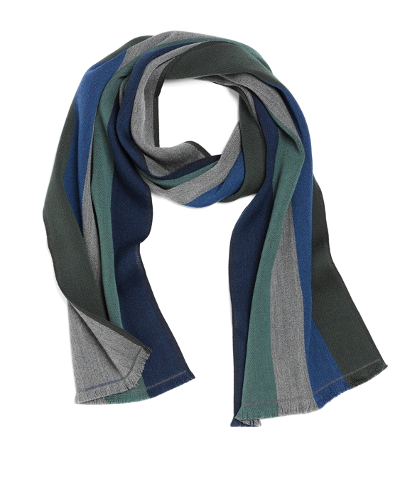 Merino Wool Multistripe Scarf Dark Green