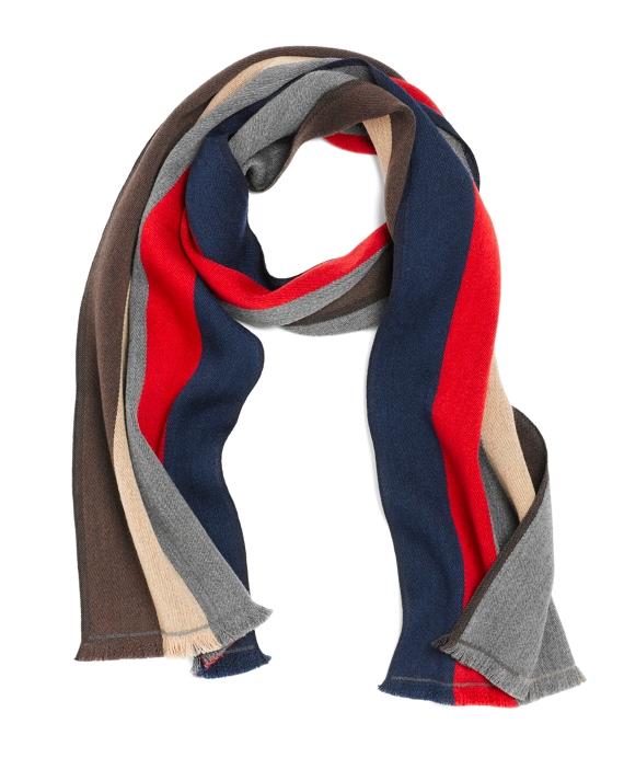 Merino Wool Multistripe Scarf Navy