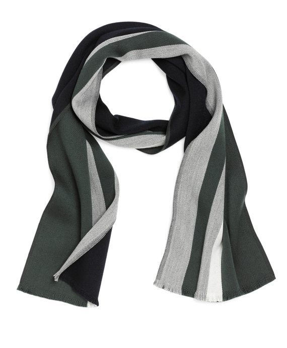 Merino Wool Wide Border Scarf Green Multi