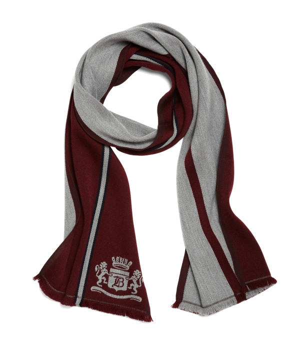 Merino Crest Scarf Dark Red