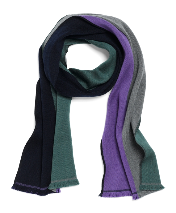 Merino Wool Reversible Color-Block Scarf Green Multi
