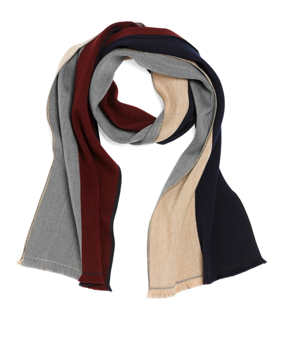 Merino Wool Reversible Color-Block Scarf Navy Multi